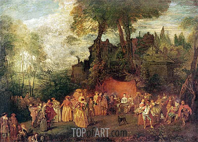 L'Accordee du Village, undated | Watteau| Painting Reproduction