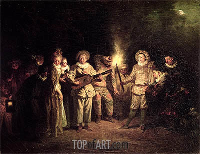 The Italian Comedy, c.1716 | Watteau | Painting Reproduction