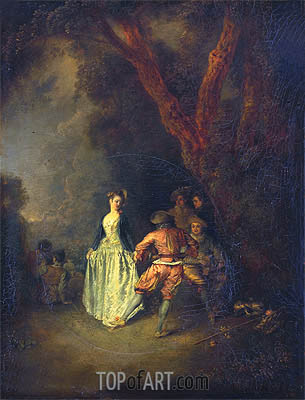 The Country Dance, c.1711 | Watteau | Gemälde Reproduktion