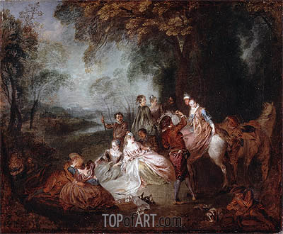Fete Champetre, c.1720 | Watteau| Painting Reproduction