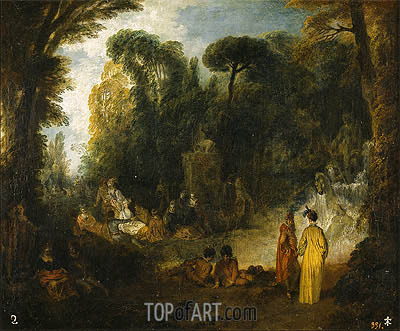 Gathering in a Park, c.1712/13 | Watteau| Painting Reproduction