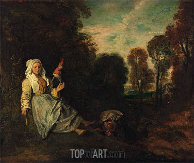 Watteau | Evening Landscape with Spinner, c.1713/17