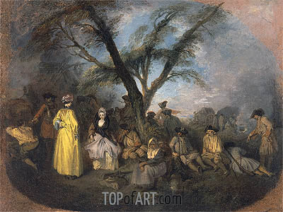 The Rest, c.1709 | Watteau | Painting Reproduction