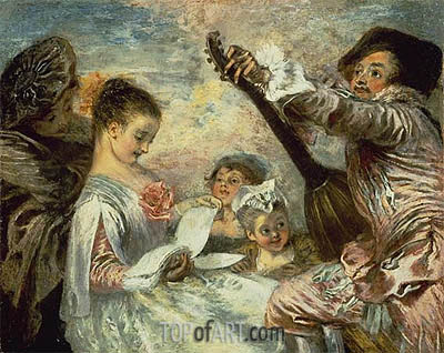 The Music Lesson, c.1717/18 | Watteau| Painting Reproduction