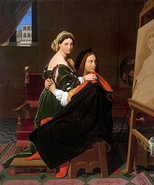 Raphael and the Fornarina, 1814 by Ingres | Painting Reproduction