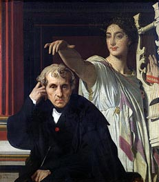 Portrait of the Composer Cherubini and the Muse of Lyrical Poetry, 1842 by Ingres | Painting Reproduction