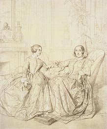 Comtesse Charles d'Agoult, nee Marie de Flavigny and Her Daughter Claire d'Agoult, 1849 by Ingres | Painting Reproduction
