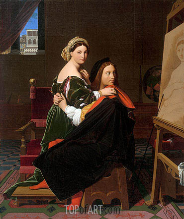 Raphael and the Fornarina, 1814 | Ingres| Painting Reproduction