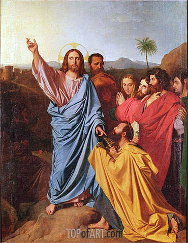 Jesus Returning the Keys to St. Peter, 1820 | Ingres | Gemälde Reproduktion