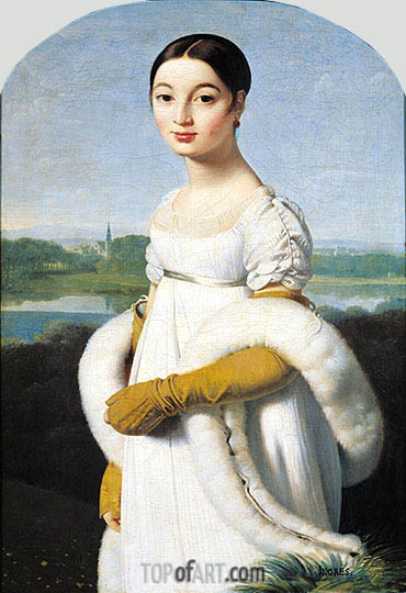 Portrait of Mademoiselle Caroline Riviere, 1805 | Ingres | Painting Reproduction
