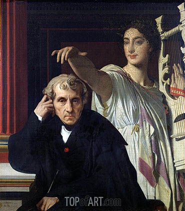 Portrait of the Composer Cherubini and the Muse of Lyrical Poetry, 1842 | Ingres| Painting Reproduction
