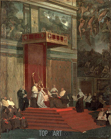 Pope Pius VII Attending Chapel, 1820 | Ingres| Painting Reproduction