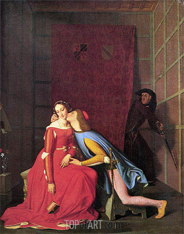 Francesca da Rimini and Paolo Malatesta, 1819 | Ingres| Painting Reproduction
