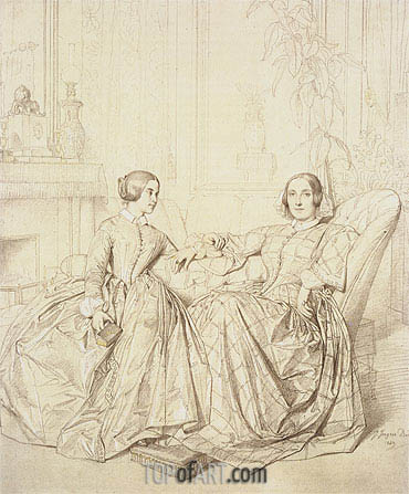 Comtesse Charles d'Agoult, nee Marie de Flavigny and Her Daughter Claire d'Agoult, 1849 | Ingres | Painting Reproduction