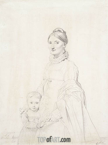 Portrait of Madame Charles Hayard and Her Daughter Caroline, 1815 | Ingres | Gemälde Reproduktion