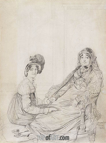 Portrait of Mrs. George Vesey and Her Daughter Elizabeth Vesey, later Lady Colthurst, 1816 | Ingres | Gemälde Reproduktion