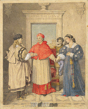 The Betrothal of Raphael and the Niece of Cardinal Bibbiena, 1864 | Ingres| Gemälde Reproduktion