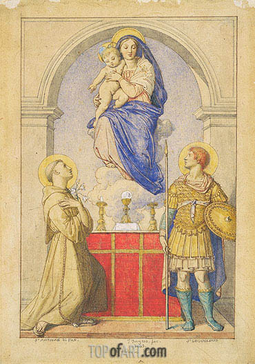 The Virgin and Child Appearing to Saints Anthony of Padua and Leopold of Carinthia, 1855 | Ingres| Gemälde Reproduktion