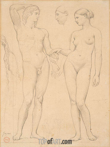 Studies of a Man and a Woman for 'The Golden Age', c.1843/48 | Ingres | Painting Reproduction