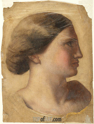 Head of a Young Woman, c.1855 | Ingres | Painting Reproduction