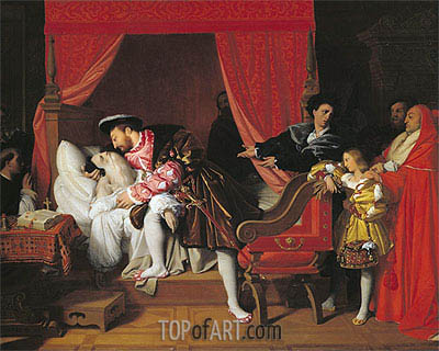 Francis I Receives the Last Breaths of Leonardo da Vinci, 1818 | Ingres | Painting Reproduction
