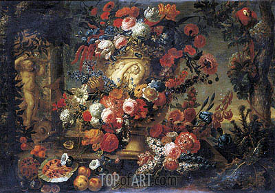 Still Life of Flowers in a Sculpted Vase, undated | Jean Baptiste Bosschaert | Painting Reproduction