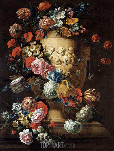 Still Life with a Sculpted Urn, undated | Jean Baptiste Bosschaert | Painting Reproduction