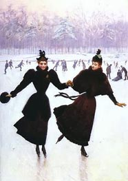 Women Skating, Undated by Jean Beraud | Painting Reproduction