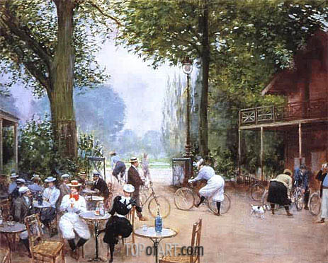 The Cycle Stop in the Bois de Boulogne, undated | Jean Beraud | Gemälde Reproduktion