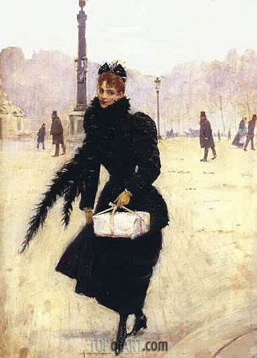 Parisienne, Place de la Concorde,  | Jean Beraud | Painting Reproduction