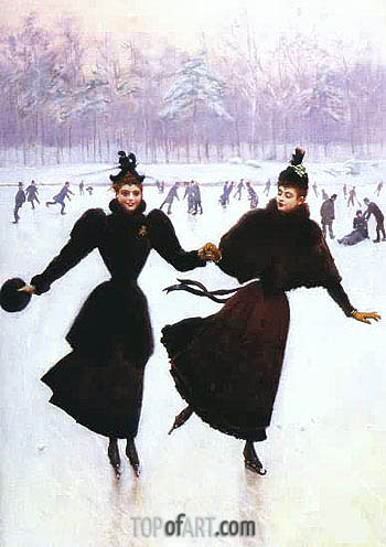 Women Skating, Undated | Jean Beraud | Painting Reproduction
