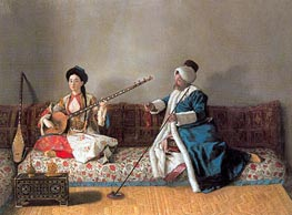 Portrait of M. Levett and of Mlle Glavany Seated on Sofa | Jean Etienne Liotard | outdated