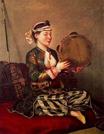 Girl in Turkish Costume with Tambourine, c.1738/43 von Jean Etienne Liotard | Gemälde-Reproduktion