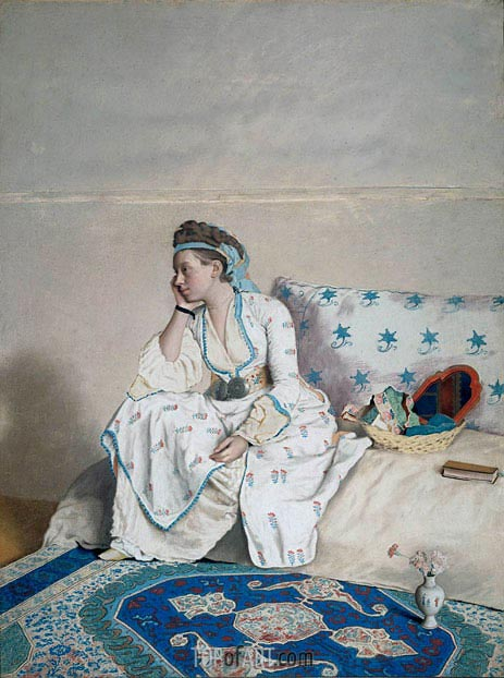 Portrait of Mary Gunning Countess of Coventry in Turkish Costume, c.1752/54 | Jean Etienne Liotard | Painting Reproduction