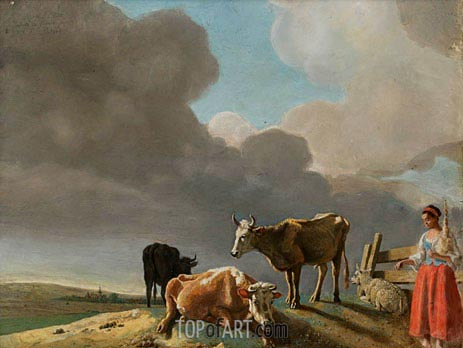 Landscape with Cows, c.1758/60 | Jean Etienne Liotard | Painting Reproduction