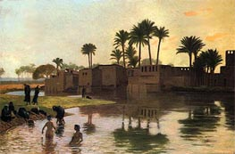 Bathers by the Edge of a River, undated by Gerome | Painting Reproduction