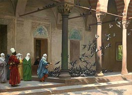 Harem Women Feeding Pigeons in a Courtyard, 1894 by Gerome | Painting Reproduction