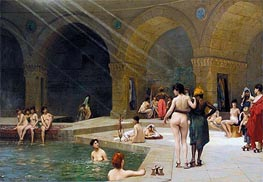 The Grand Bath at Bursa, 1885 by Gerome | Painting Reproduction