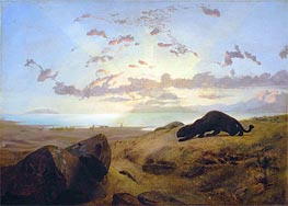 Black Panther Stalking a Herd of Deer, 1851 by Gerome | Painting Reproduction
