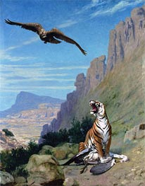 Tiger and Vulture, undated by Gerome | Painting Reproduction