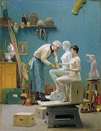 Working in Marble (The Artist Sculpting Tanagra), 1890 by Gerome | Painting Reproduction
