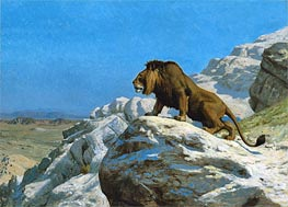 Lion on the Watch, c.1885 by Gerome | Painting Reproduction