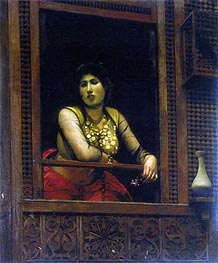 Woman at Her Window, 1888 by Gerome | Painting Reproduction