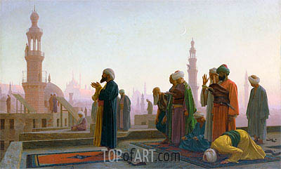Prayer in Cairo (Prayer on the Rooftops of Cairo), 1865 | Gerome| Painting Reproduction