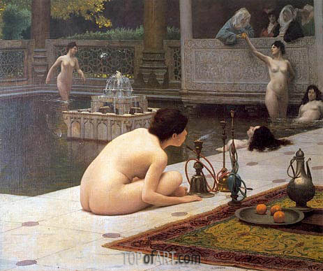 The Teaser of the Narghile (The Pipelighter), c.1898 | Gerome| Painting Reproduction