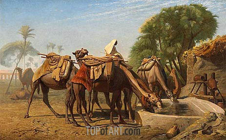 Camels at the Watering-Place, 1857 | Gerome | Painting Reproduction