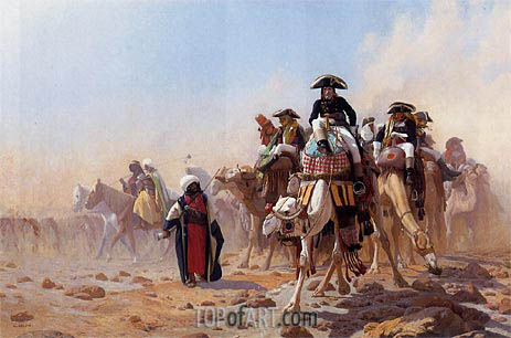 Napoleon and His General Military Staff in Egypt, 1867 | Gerome| Painting Reproduction