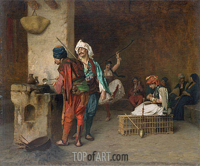 Cafe House, Cairo (Casting Bullets), c.1870 | Gerome| Painting Reproduction