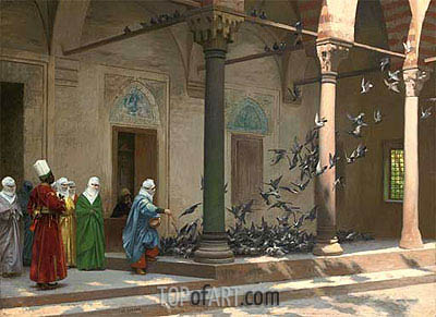 Harem Women Feeding Pigeons in a Courtyard, 1894 | Gerome| Gemälde Reproduktion