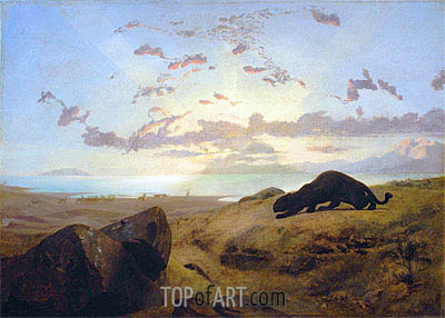 Black Panther Stalking a Herd of Deer, 1851 | Gerome| Gemälde Reproduktion